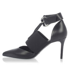 BALENCIAGA New woman Black Leather Band 7 cm Heel pumps shoes Made in Italy NWT