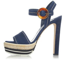 PRADA New Woman Pumps suede Leather blue Sandals 14 cm heel Made in Italy
