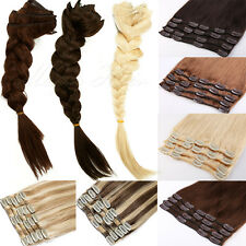 BIG SALE FULL HEAD Clip in 100% REAL Human Hair Extensions Remy 7/8pcs US SK316