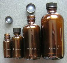 12 - 1 ounce oz (8 dram, 30ml) amber glass BOSTON ROUND bottles NEW