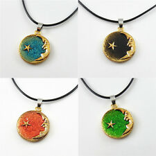 DIY Necklace Leather Chain Enamel Alloy Moon Star Round Charms Pendants1pcs