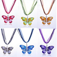 Women Crystal Rhinestone Butterfly Pendant Sweater Chain Necklace Jewelry Gift