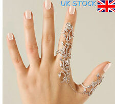 Womens Rose Multiple Finger Ring Unique Crystal Rings With Chain Fashion Jewelry