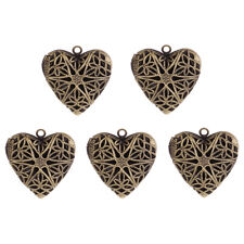 5x 26mm Vintage Plated Hollow Heart Picture Photo Locket Pendant Charm Necklace