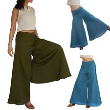 Women Ladies Trousers Solid Flare Wide Leg High Waist Long Loose Casual Pants