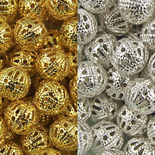 GOLD & SILVER PLATED Metal FILIGREE Spacer BEADS - Choose 4mm 6mm 8mm 10mm 12mm