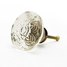 38mm Embossed Acrylic Daisy Cabinet Knobs with Antique Brass Hardware