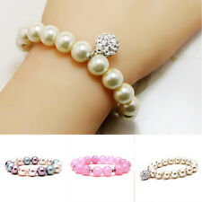 Fashion Women Crystal Wristband Imitation Pearl Beads Bangle Bracelet Jewelry