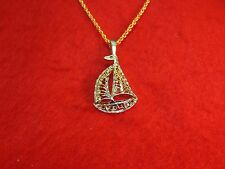 "14KT GOLD EP SAILBOAT NAUTICAL DIAMOND CUT CHARM WITH 16""- 30""  ROPE CHAIN-304"