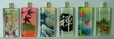 Handcrafted Glass Tile Pendant Zen Hokusai Waves Flowers Leaves Woman w/Necklace