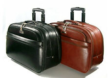 Genuine Leather Carry-on Rolling Computer Laptop Luggage Briefcase, A214