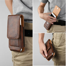 For Samsung Phones Vertical Luxury Brown Leather Pouch Belt Clip Holster Case