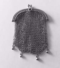 """Vintage French Art Deco Sterling Silver Small Mesh / Chain Coin Purse 37.2g 4"""""""