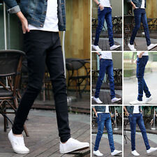 Fashion Men's Slim Fit Straight Washed Denim Pants Skinny Trousers Casual Jeans