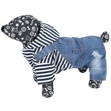 Pet Coat Dog Jacket Hooded Stripe Jeans Clothes Puppy Cat Clothing Coat Apparel