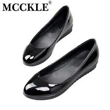 MCCKLE woman fashion plus size Shoes Women Black Flats Loafers Shoes Casual