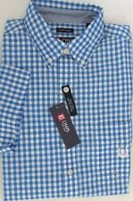 nwt-chaps-easy-care-short-sleeve-casual-shirt-monterey-blue-gingham-sz-s-l-xl