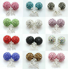 6-8-10-12mm 925 Sterling Silver Shamballa Crystal Ball Stud Earring