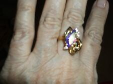 Ring--Marquise-Cut Aurora Borealis Crystal Cocktail Ring in 14k Gold-Plated Size