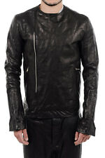 RICK OWENS VICIOUS New Men Black Leather CREW NECK BIKER Jacket Coat