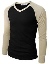 Doublju Mens Raglan V Neck T shirts, Colors Choice, Size: Large L