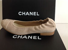 CHANEL CC Flats Ballerinas Canvas and Snake Cap Toe Shoes Gray & Beige $775 New!