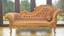 Chaise Longue Gold Leaf & Velvet Lounge Sofa Ornate French Louis style Free Del
