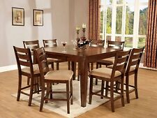 Antique Oak Finish Dining Set 9pc Counter Height Contemporary Dining Room Set