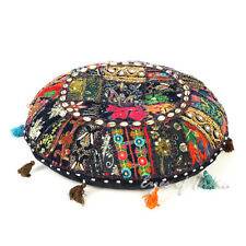 "17"" Black Round Floor Pillow Cushion Seating Throw Cover Hippie Decorative Bohem"
