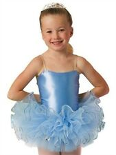 Leo's Satin Basic Leotard with Tutu, Light Blue
