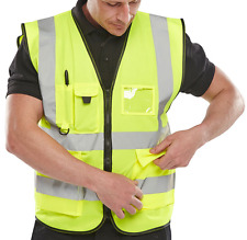 Yellow Hi Viz Executive Zipped Safety Vest Hi Visibility Reflective Waistcoat ID