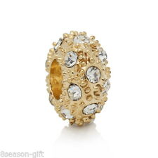 Wholesale Gold Plated European Charm Beads With Rhinestone For Bracelets
