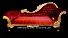 Large Red Gold Leaf Chaise Longue Lounge Sofa French Style luxury Ornate Carved