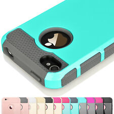 For iPhone 4 4S 4G Silicone Rubber Hard Shockproof Hybrid Cover Case Skin