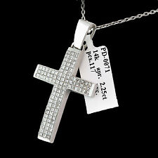Diamond Cross 14k White/Yellow Gold Princess Cut Diamonds 2.25ct Pendant