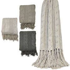 Soft Cable Stitch Knitted Throw Blanket with Tasselled Edge – For Sofas & Beds