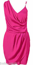 River Island Pink Grecian Drape Dress UK 8 One Shoulder Evening/Cocktail New