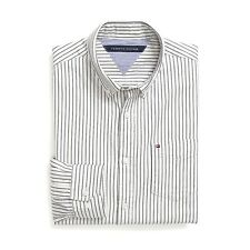 New Tommy Hilfiger Mens Custom Fit Longsleeve Button Shirt White Navy Stripe NWT