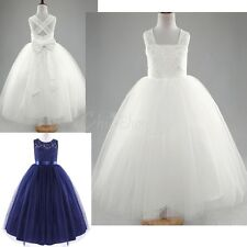 Lace Flower Girl Princess Dress Pageant Communion Prom Wedding Bridesmaid Dress