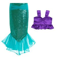 Kids Mermaid Set Girls Princess Dress Party Cosplay Costume Outfits Top+Skirt