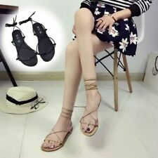 2 Colors Womens Roman Gladiator PU Leather Flat Shoes Sandals Barefoot EI KP