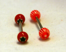 Sets of 2 red/ orange designs acrylic ball stainless steel tongue/ nipple bars