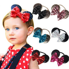 Baby Girls Kid Minnie Mouse Ears Headband Shiny Sequin Bow Hair Band Accessories