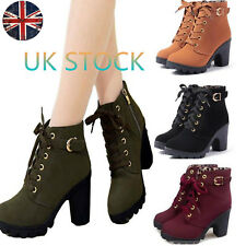 UK Women's Lace Up Zip Ankle Boots Platform Chunky Block Heels Winter Punk Shoes