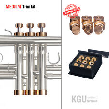 Trumpet Trim Kit KGUBrass. MEDIUM Caps. Raw Brass. TKMR109 ** Custom parts **