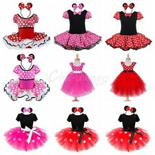 Kids Girl Baby Toddler Minnie Mouse Costume Polka Dot Tutu Fancy Dress Up Outfit
