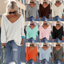 Women's Casual Autumn Long Sleeve V Neck Loose Knit Pullover Tops Sweater Jumper