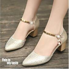 Women Block Heels Rhinestones Shinning Ankle Strappy Fashion Sexy Sandals Shoes