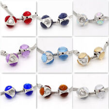 2pcs Silver European Charm crystal glass Beads Fit 925 Necklace Bracelet #6