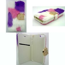 FURRY FASHION PURPLE, PINK AND WHITE BOOK FLIP COVER CASE FOR APPLE IPHONE 4/4S